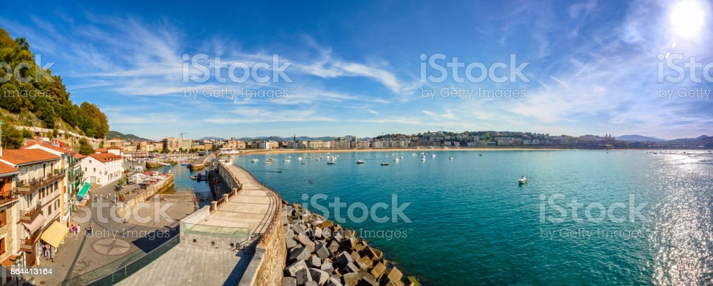 Panoramic view of La Concha Bay, San Sebastian, Donostia, Basque Country, Spain stock photo
