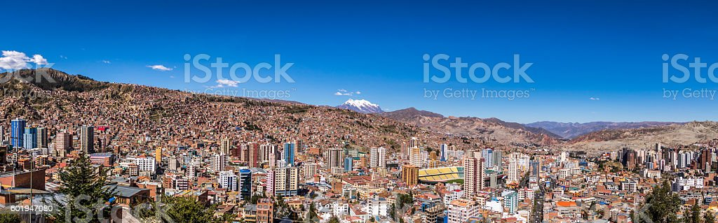 Panoramic view of La Paz with Illimani Mountain - Bolivia stock photo