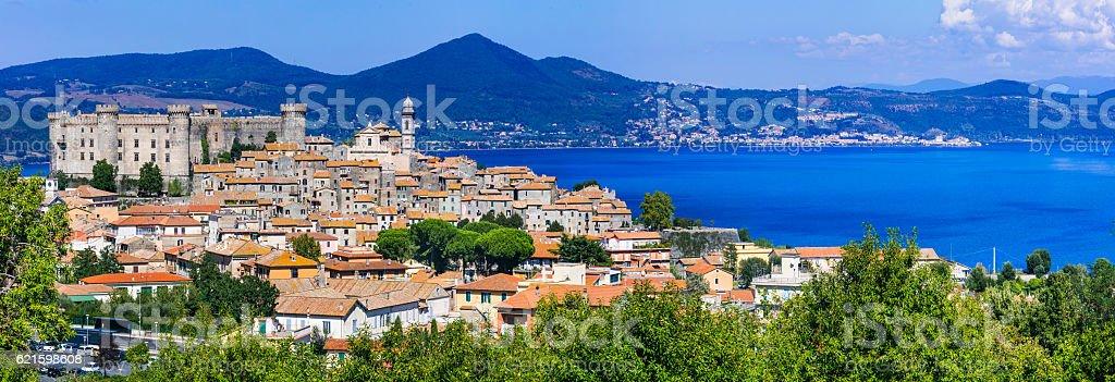 Panoramic view of Lago di Bracciano. Italy, Lazio stock photo