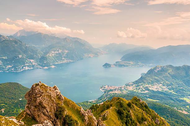 panoramic view of lago di como - lake como stock photos and pictures
