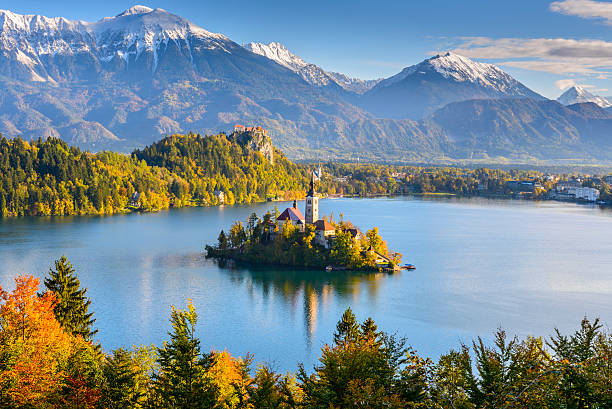 Panoramic view of Lake Bled from Mt. Osojnica, Slovenia stock photo