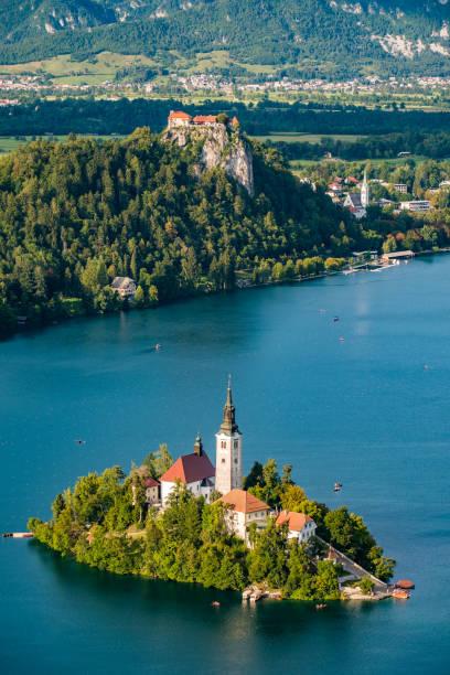 panoramic view of lake bled - slovenia foto e immagini stock