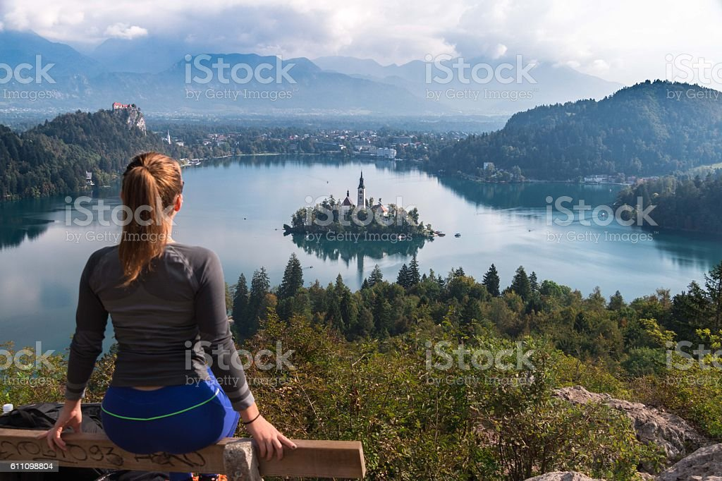 Panoramic view of Lake Bled stock photo
