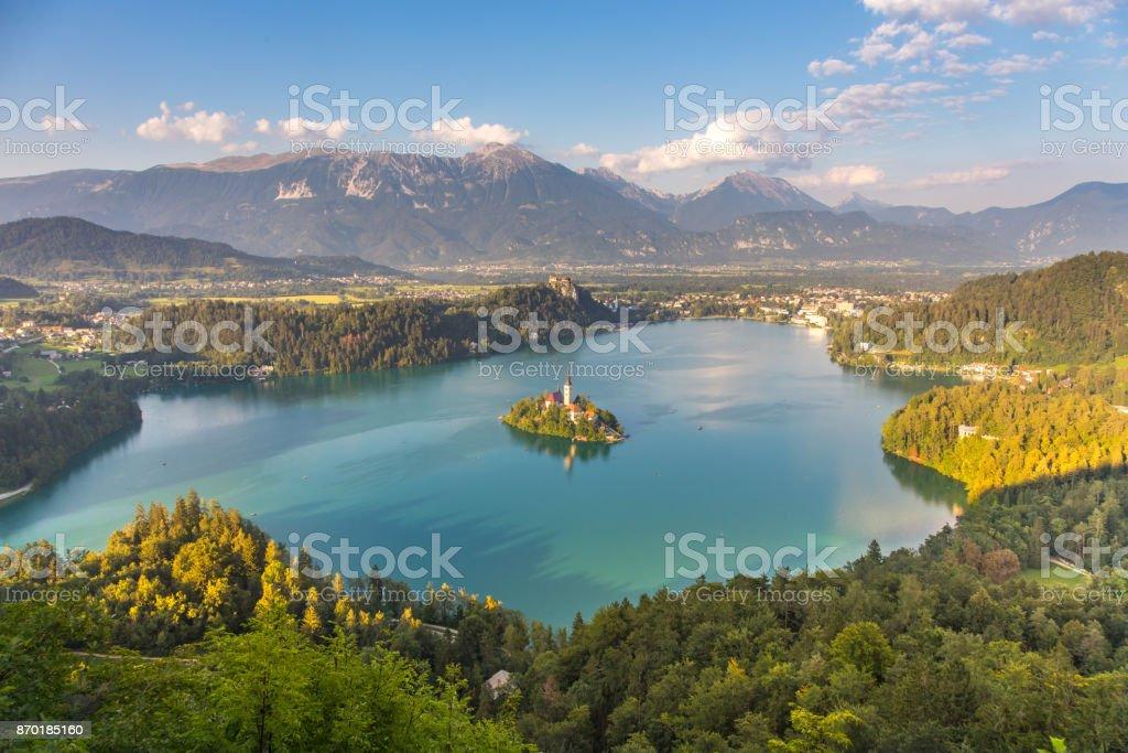 Panoramablick auf Bleder See, Slowenien – Foto