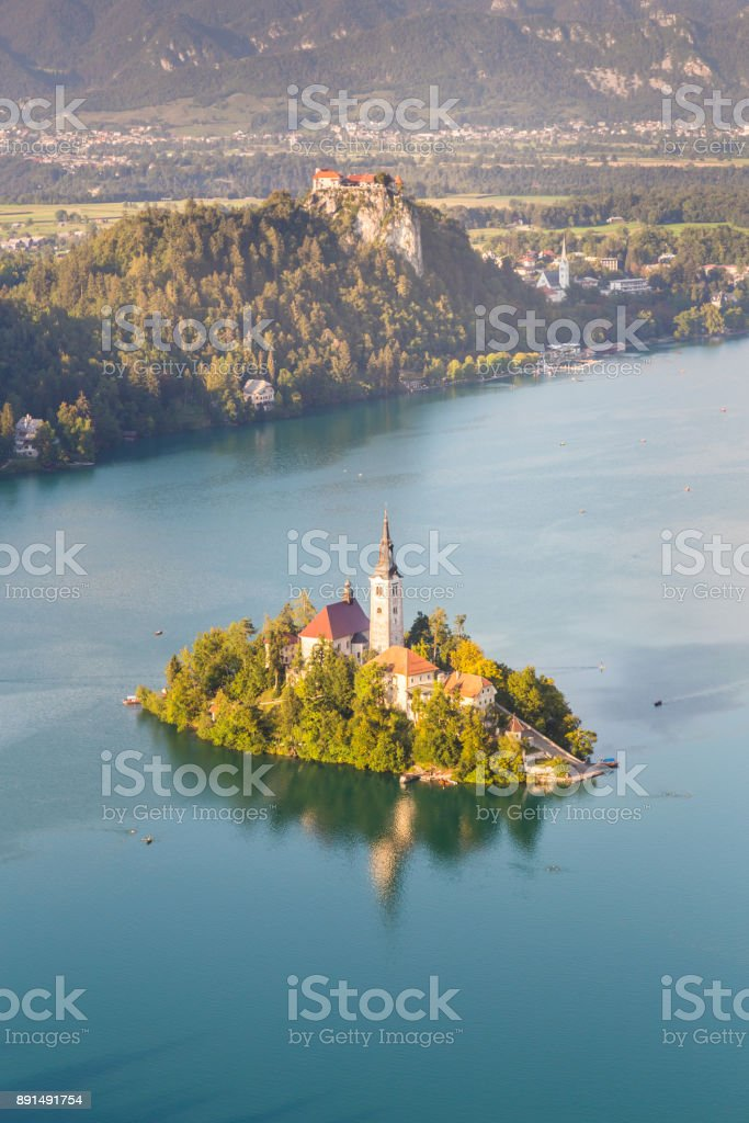 Panoramic view of Lake Bled, Slovenia stock photo