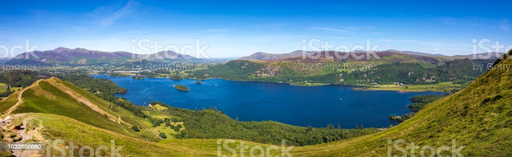 Panoramic view of Lake Derwentwater and Keswick from summit of Cat Bells fell in Lake District, England royalty-free stock photo