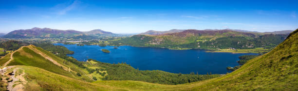 Panoramic view of Lake Derwentwater and Keswick from summit of Cat Bells fell in Lake District, England stock photo