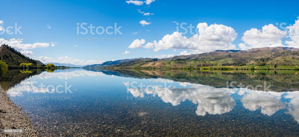 Panoramic View of Lake Dunstan, Central Otago, New Zealand. stock photo