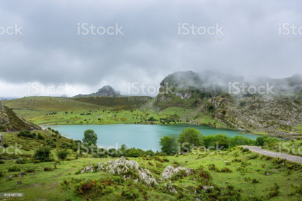 Panoramic view of Lake Enol, Covadonga, Asturias, Spain stock photo