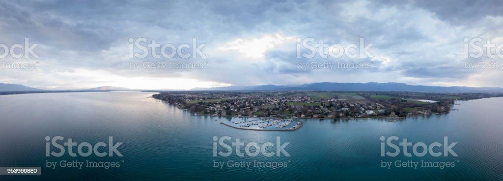 Panoramic view of lake Geneva during sunset stock photo