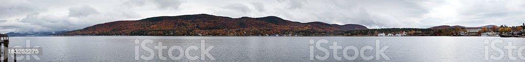 Panoramic view of Lake George stock photo