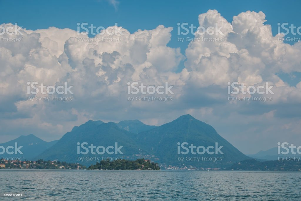 Panoramic view of lake Maggiore in Piedmont, north Italy stock photo