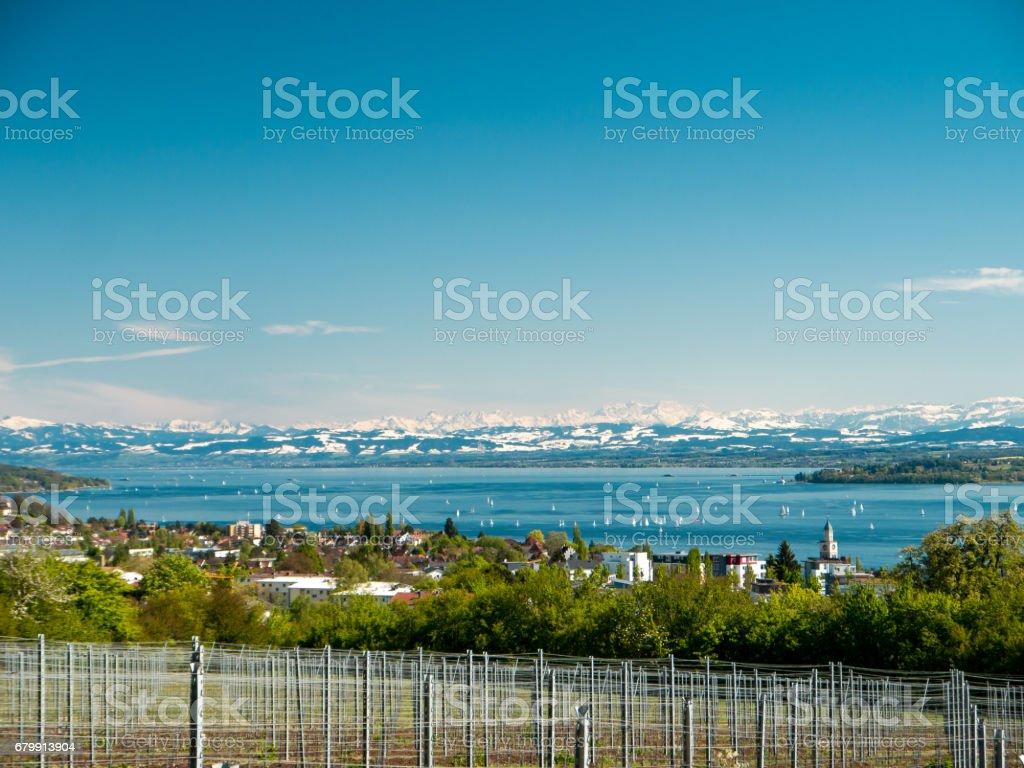 Panoramablick auf See auf den Bodensee mit Schweizer Alpen im Hintergrund – Foto