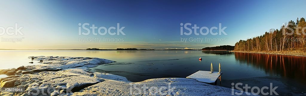 Panoramic view of lake royalty-free stock photo