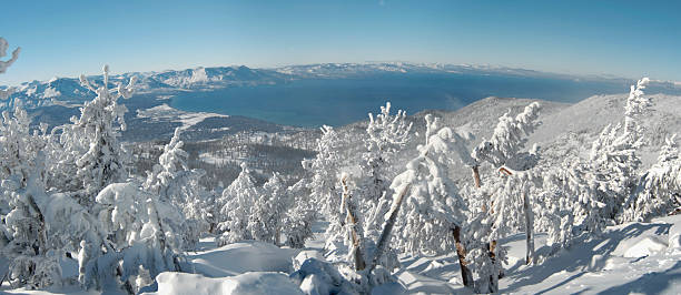 panoramablick auf den lake tahoe von dem berg top - lake tahoe winter stock-fotos und bilder