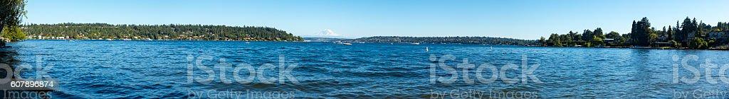Panoramic View of Lake Washington and Mt Rainier stock photo