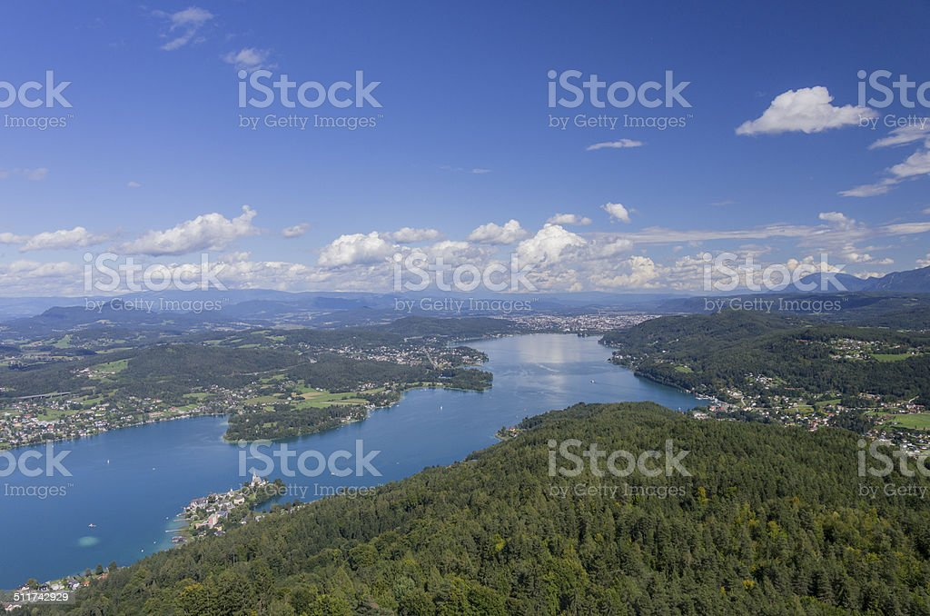 Panoramic View of Lake Worthersee stock photo