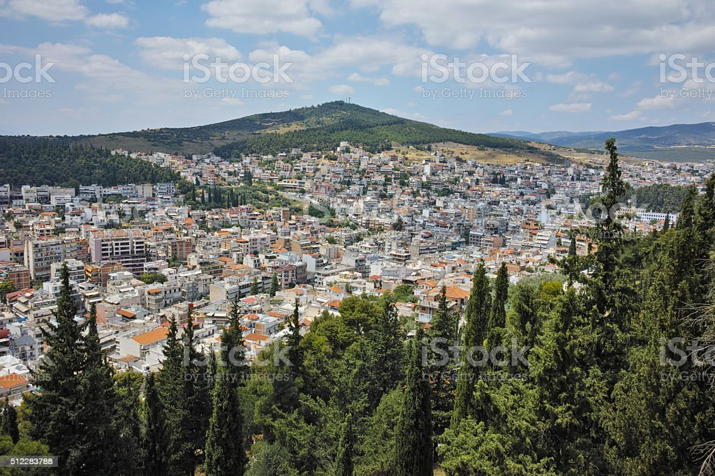 Panoramic view of Lamia City, Central Greece stock photo