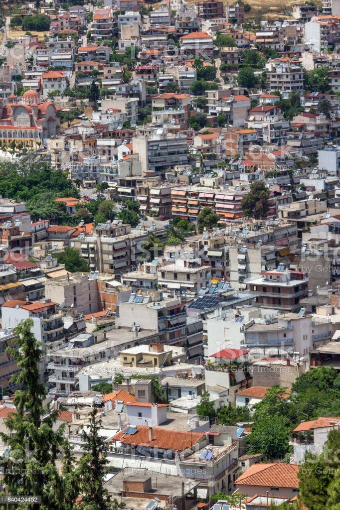 Panoramic view of Lamia City, Greece stock photo