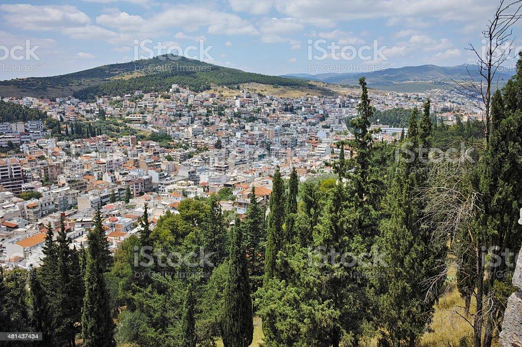 Panoramic view of Lamia City stock photo