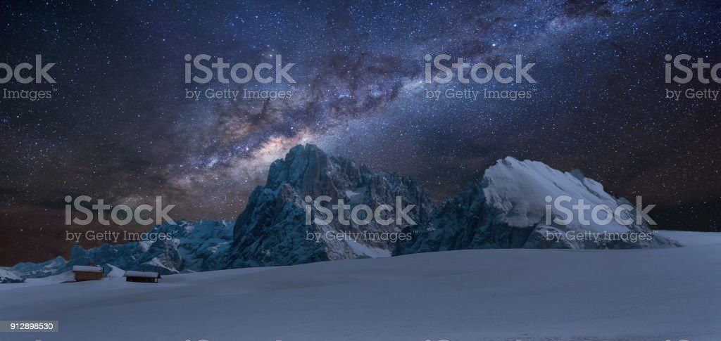 Panoramic view of Langkofel by night with milky way stock photo