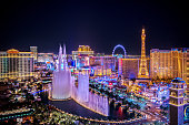 Las Vegas, USA - August 19, 2018 Panoramic view of Las Vegas strip at night in Nevada. The famous Las Vegas Strip with the Bellagio Fountain. The Strip is home to the largest hotels and casinos in the world.