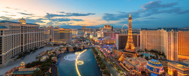 Panoramic view of Las Vegas Strip stock photo
