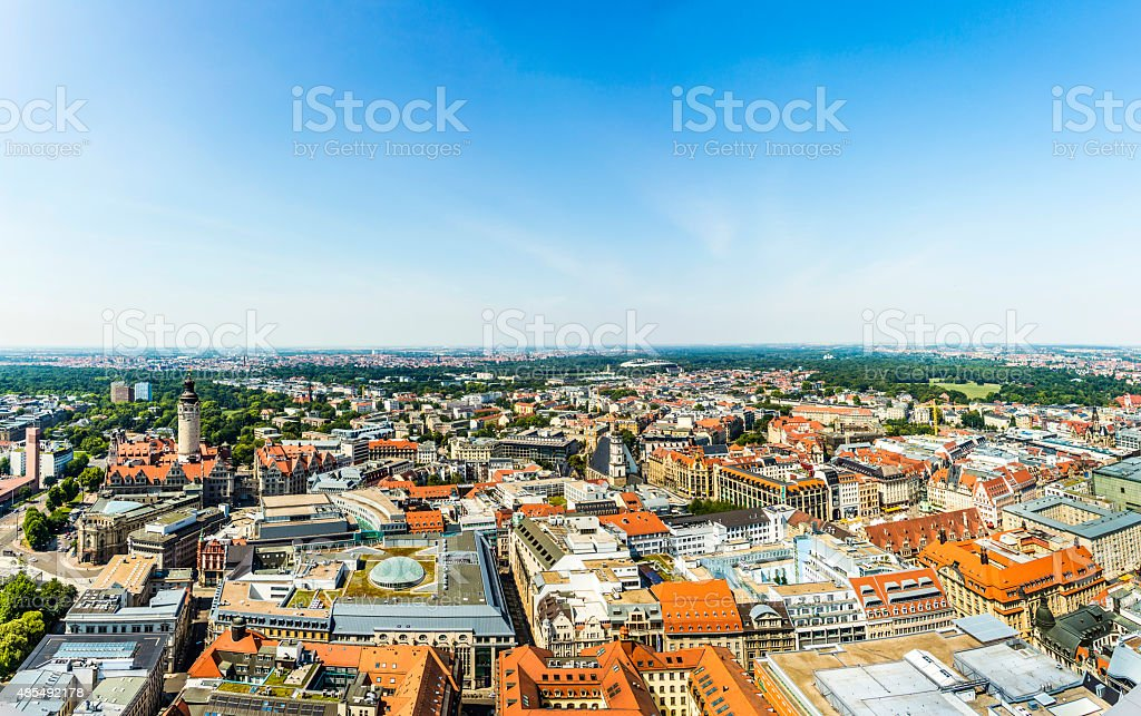 Panoramic view of Leipzig stock photo