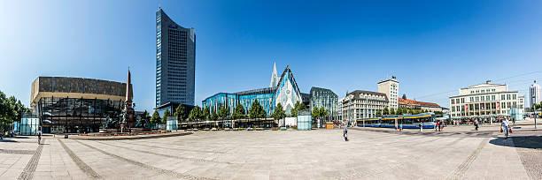 panoramablick von leipzig - leipzig universität stock-fotos und bilder