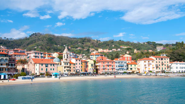 Panoramic view of Lerici, a village in Liguria, Italy stock photo