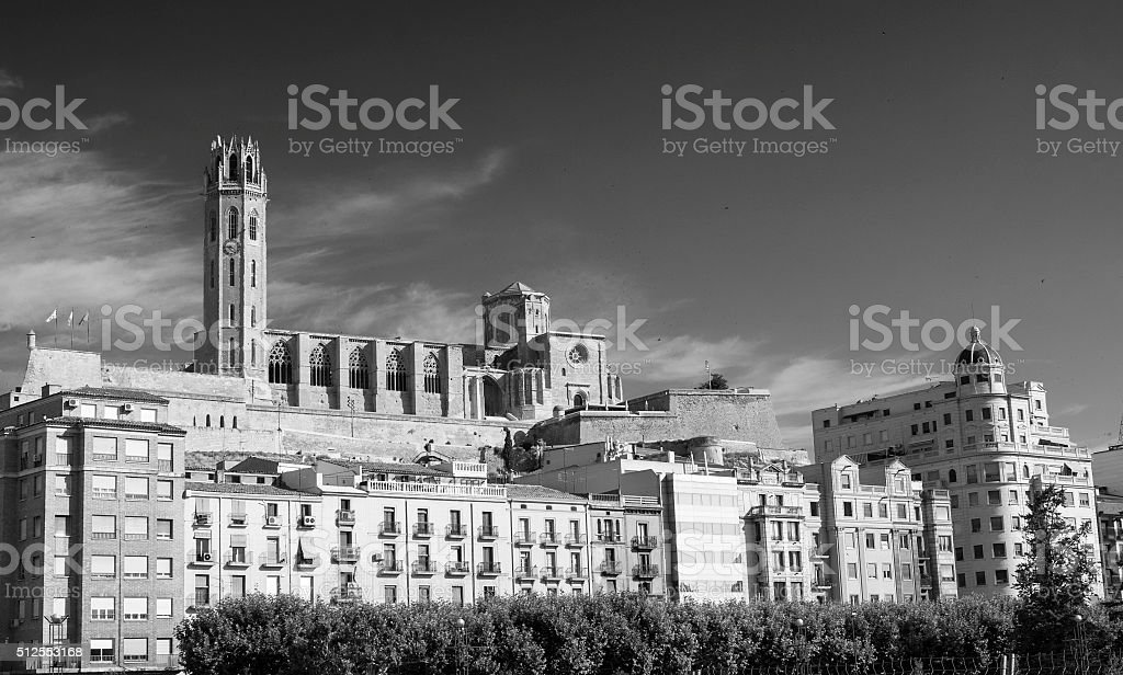 Panoramic view of Lerida (Spain) stock photo