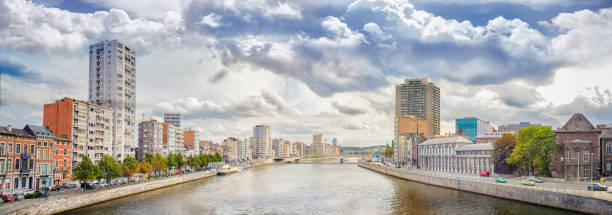 Panoramic view of Liege, a city on the banks of the Meuse river in Belgium Panoramic view of Liege, a city on the banks of the Meuse river in Belgium, Europe lulik stock pictures, royalty-free photos & images