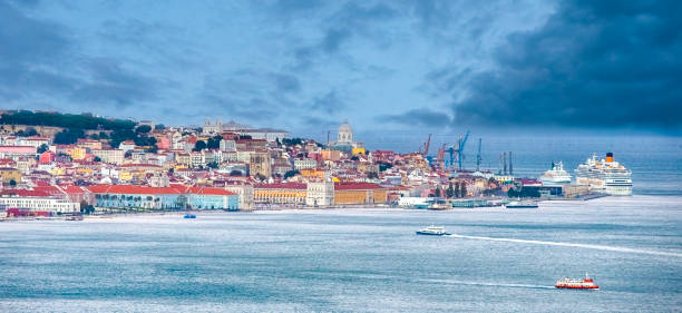 Panoramic View of Lisbon Cityscape with Cruise Ships on Background. Horizontal Image