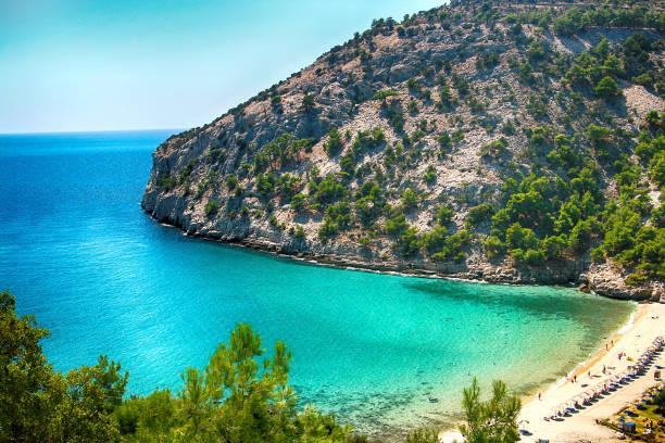 Panoramic view of Livadi beach, Thassos island, Greece stock photo