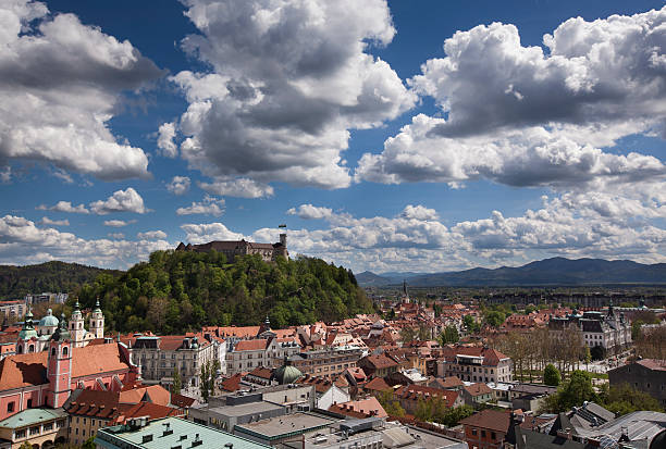 Panoramic view of Ljubljana Castle View of Ljubljana Castle and the old part of town. ljubljana castle stock pictures, royalty-free photos & images