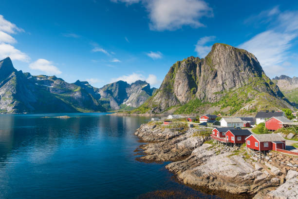 Panoramic view of Lofoten Islands in Norway with sunset scenic Panoramic view of Lofoten Islands in Norway with sunset scenic norwegian culture stock pictures, royalty-free photos & images
