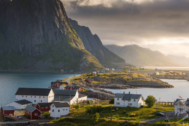 Panoramic view of Lofoten Islands in Norway with sunset scenic Panoramic view of Lofoten Islands in Norway with sunset scenic oslo stock pictures, royalty-free photos & images