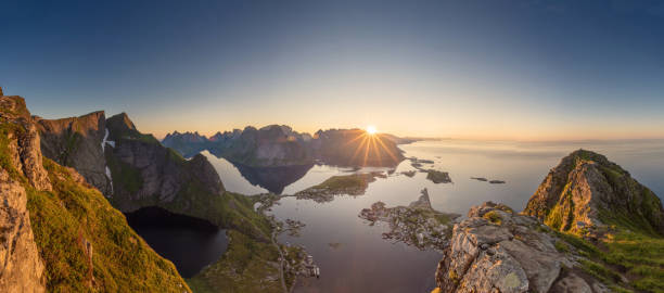 Panoramic view of Lofoten Islands in Norway with sunset scenic Panoramic view of Lofoten Islands in Norway with sunset scenic lofoten stock pictures, royalty-free photos & images