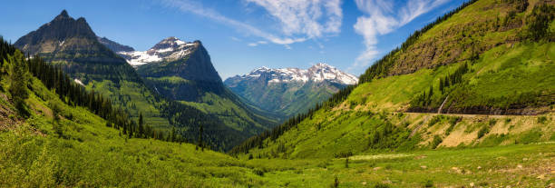panoramic view of logan pass in glacier national park, montana - logan pass stock pictures, royalty-free photos & images