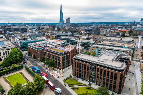 Panoramic view of London from St. Paul's Cathedral stock photo