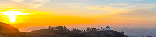Panoramic View of Los Angeles Skyline at Dawn City of Los Angeles at dawn panorama hollywood boulevard stock pictures, royalty-free photos & images