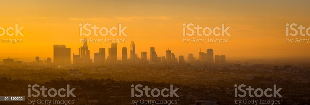 Panoramic view of Los Angeles skyline at sunrise stock photo