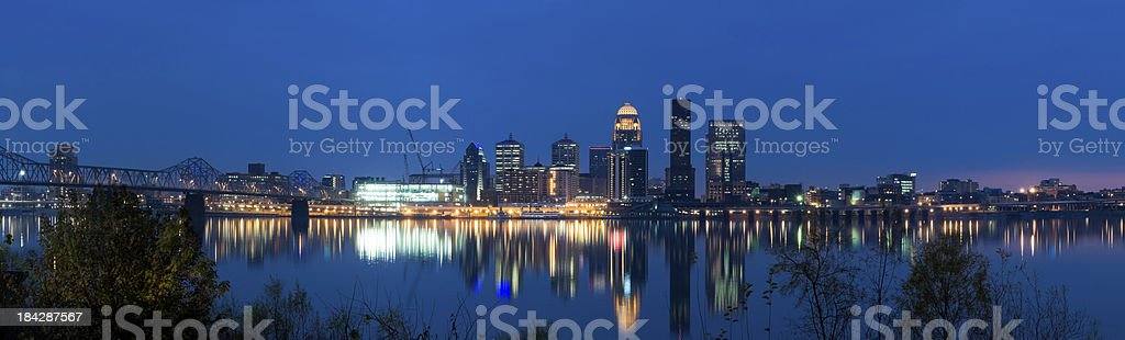 Panoramic View of Louisville at Dusk royalty-free stock photo