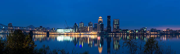 Panoramic View of Louisville at Dusk stock photo