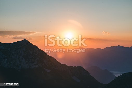 panoramic view of lovcen national park in montenegro on sunset. summer travel