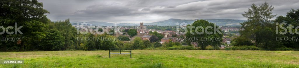 Panoramic view of Ludlow stock photo