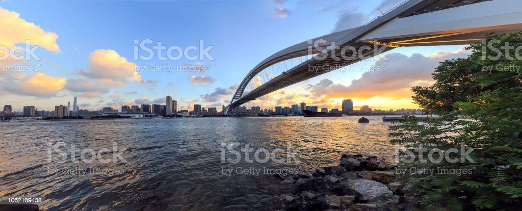 Panoramic view of LuPu bridge at sunset in Shanghai,China stock photo