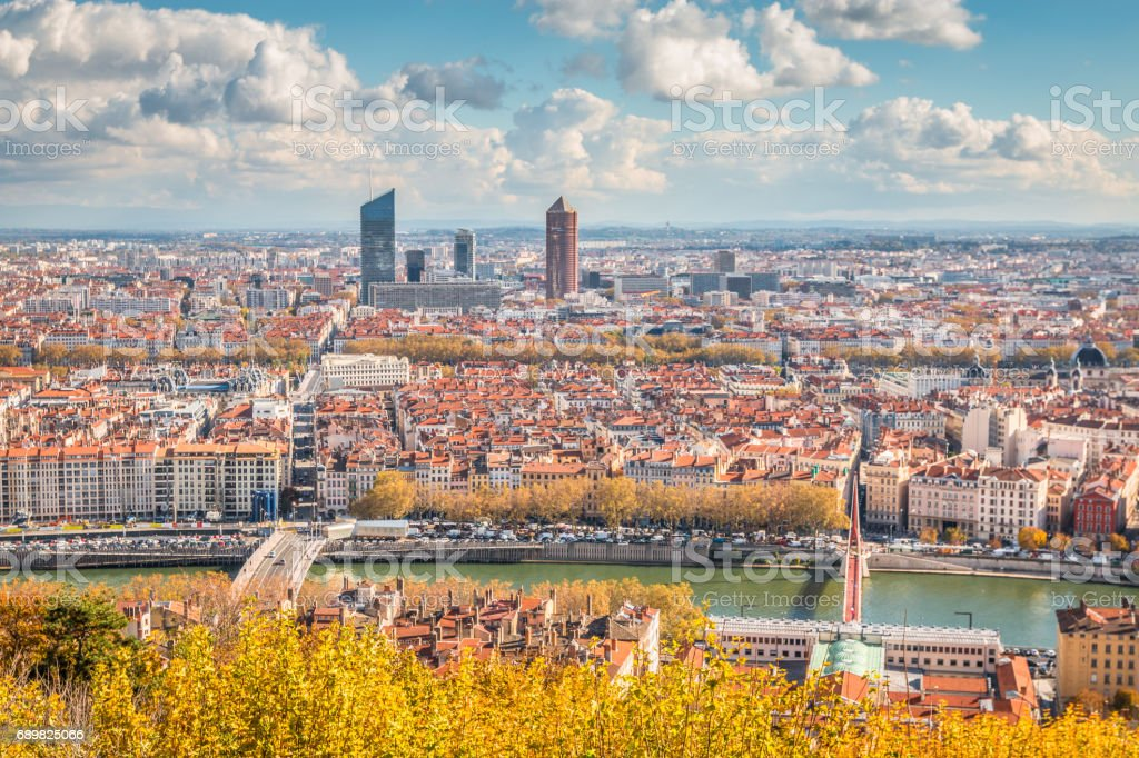 Panoramic view of Lyon France stock photo