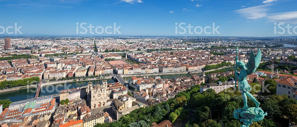 Panoramic view of Lyon stock photo