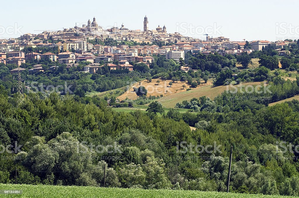 Panoramic view of Macerata (Marches, Italy) at summer royalty-free stock photo